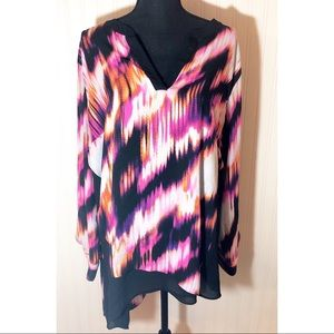 Wortington Asymmetrical Colorful Blouse Size 2X